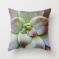 succulent Throw Pillows featuring Succulent by Lindsay Faye