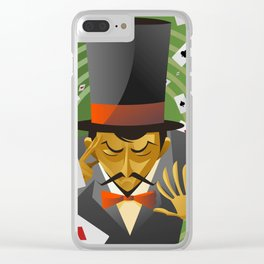 top hat magician poker cards magic trick Clear iPhone Case