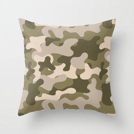 Green Gray Camouflage Pattern Throw Pillow