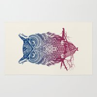 bird Area & Throw Rugs featuring Evening Warrior Owl by Rachel Caldwell
