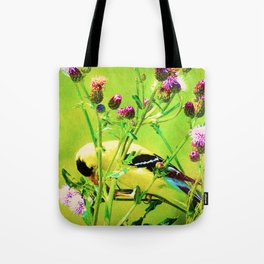 Goldfinch Yellow Bird Purple Flowers A101 Tote Bag