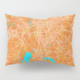 Leipzig, Germany, Gold, Blue, City, Map Pillow Sham