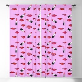 Lips and lispticks pattern in pinkish background Blackout Curtain
