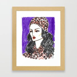 Girl in Leopard Print – Original Fashion art, Fashion Illustration, Fashion wall art Framed Art Print