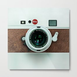 Retro vintage leather camera Metal Print