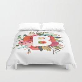 B – Monogrammed Floral Initial Duvet Cover