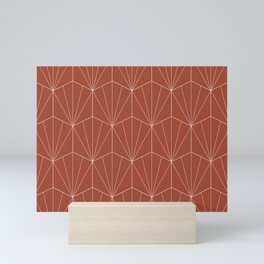 Gisela Geometric Line Pattern - Pomegranate Red Mini Art Print