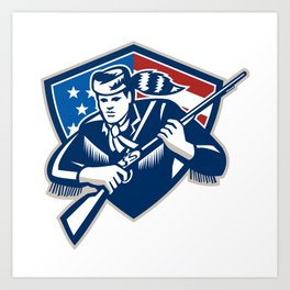American Frontiersman Patriot Stars Stripes Flag Art Print