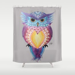 Henna Owl Shower Curtain