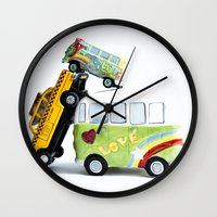 cars Wall Clocks featuring cars by Esjaybee