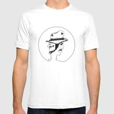 2 Hat Face White Mens Fitted Tee SMALL