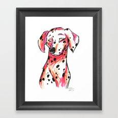 Brush Breeds-Dalmatian Pink Framed Art Print