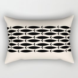Midcentury Modern Minimalist Fish Stripe Pattern in Black and Almond Cream Rectangular Pillow