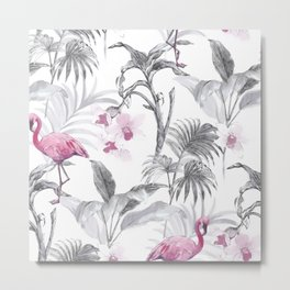 Flowers and Flamingos Metal Print