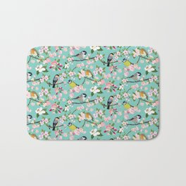 Blossom and Birds Turquoise Print Bath Mat