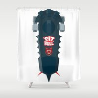 pitbull Shower Curtains featuring Pitbull Hoverboard by Staermose