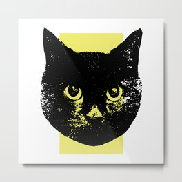 Black Cat, Color Block Yellow Metal Print
