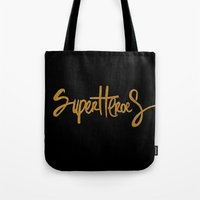 superheroes Tote Bags featuring Superheroes by Indah Irawan