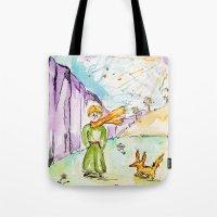 le petit prince Tote Bags featuring Le petit prince by Colorful Simone