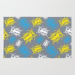Beetles on Grey Background Pattern Rug