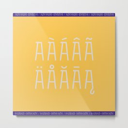 Accented Typography * Character A Metal Print
