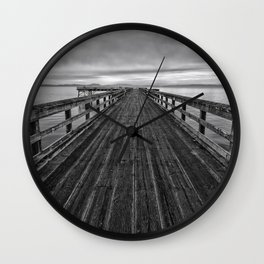 Bevan Fishing Pier - Black and White Wall Clock
