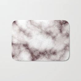 Creamy White Marble With Chocolate Brown Veins Bath Mat