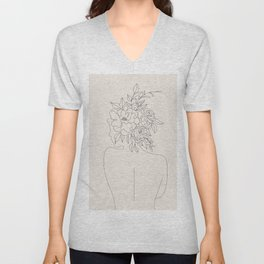 Woman with Flowers Minimal Line I Unisex V-Neck