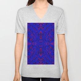 blue on red symmetry Unisex V-Neck