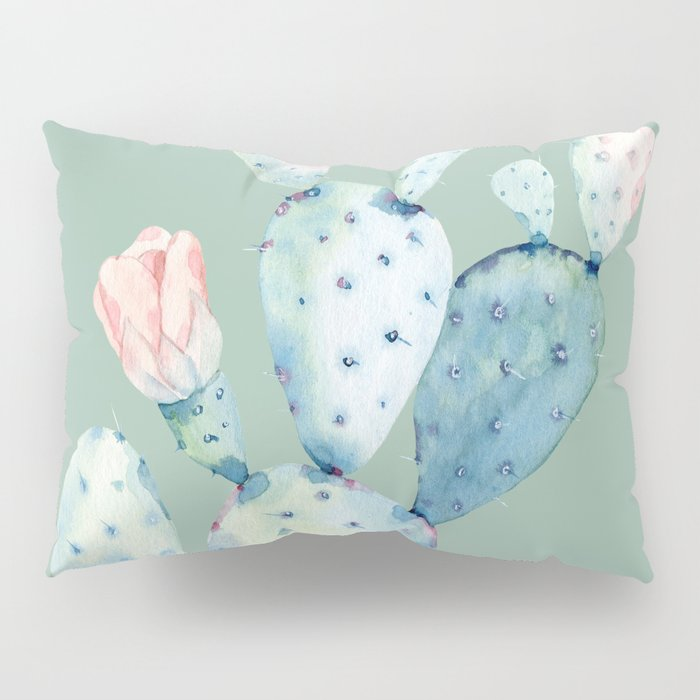 Rose Desert Cactus Mint Green Pillow Sham