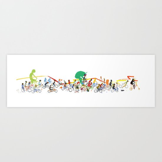 Bike Parade Print Art Print