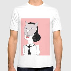 Catface  White Mens Fitted Tee MEDIUM