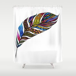 Colorful Watercolor Hand Drawn Tangle Feather Shower Curtain