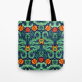 William Morris inspired Wallpaper pattern with Flowers and Leafs Tote Bag