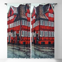 Painting of Traditional Red Restaurant in a House in Copenhagen, Denmark Blackout Curtain