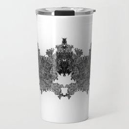 Fractal Invader (Black and White) Travel Mug