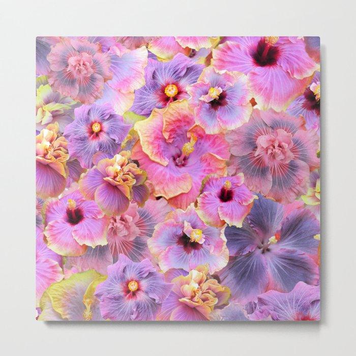 Tropical hibiscus patterns Flower Floral Flowers Metal Print