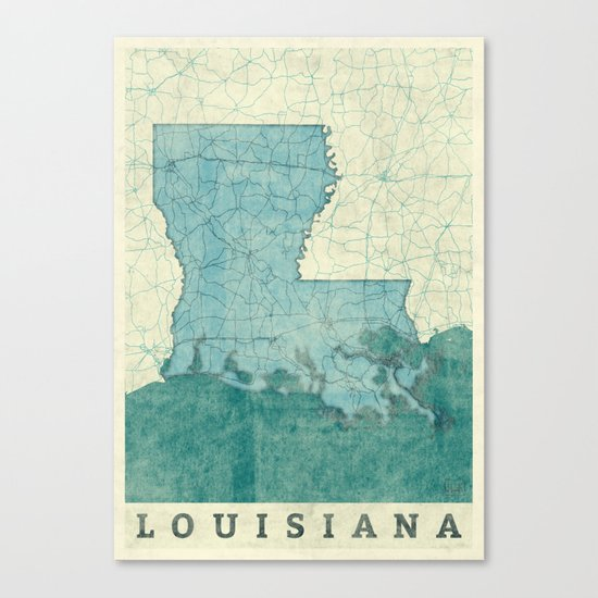 Louisiana State Map Blue Vintage Canvas Print
