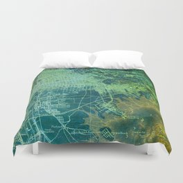 Brooklin 1898 Map, Old Colorful Map Duvet Cover