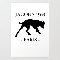 Black Dog II Contour White Jacob's 1968 fashion Paris Art Print
