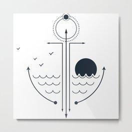 Modern Geometric Nautical Anchor Ocean Sea Metal Print