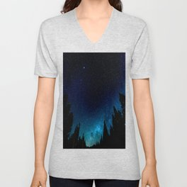 Black Trees Turquoise Milky Way Stars Unisex V-Neck