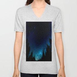 Black Trees Turquoise Milky Way Stars Unisex V-Neck