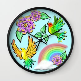 Birds Flowers and Rainbows Doodle Pattern Wall Clock