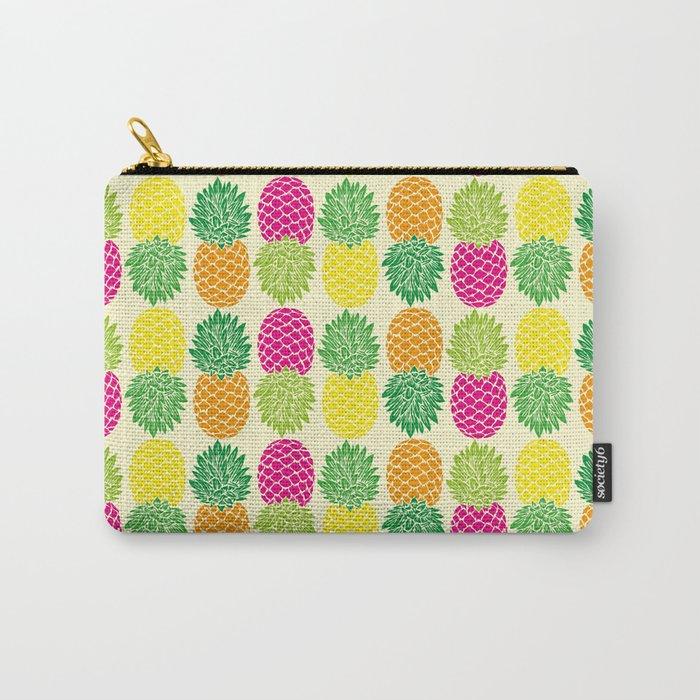 Pineapple Pop Pattern | Pop Art Pineapples | Colorful Pineapple Pattern | Pineapple Silhouettes | Carry-All Pouch