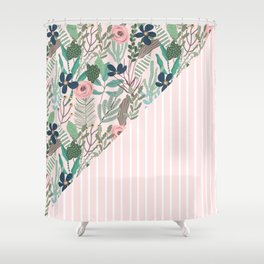 floral and stripe- pink/green Shower Curtain