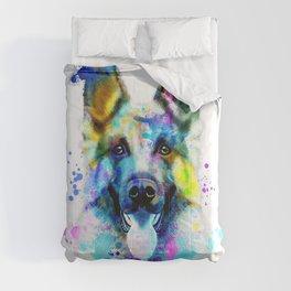 German Shepherd Watercolor, Watercolor Dog print, German Shepherd Print, German Shepherd Art Comforters