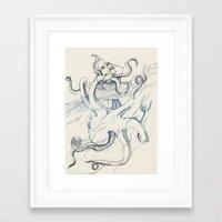 kraken Framed Art Prints featuring Kraken by Kyle Naylor