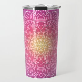 White Lace Mandala in Purple, Pink, and Yellow Travel Mug