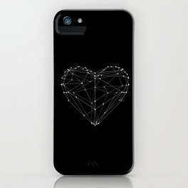 Polygon Love Heart modern black and white minimalist home room wall decor canvas iPhone Case